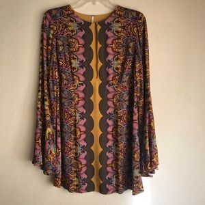 Free People Ossie Vibes Printed Tunic in Gold